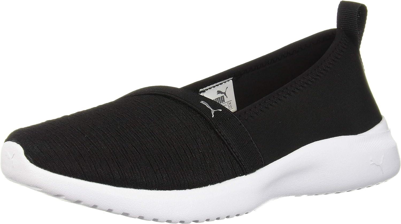 PUMA Women's Adelina Sneaker, Black Silver, 9.5 M US