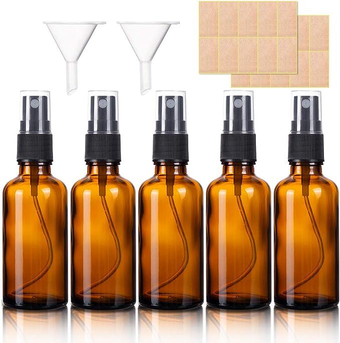 429 opinioni per 5 Pezzi Flaconi Spray in Vetro Ambrato, 50ML Fine Nebbia Bottiglia de Spray
