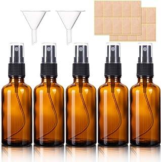 Paquete de 5 botellas de cristal ámbar de 50 ml para limpieza perfume cosméticos.