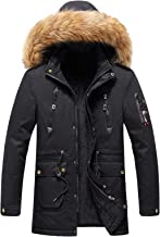 $70 » Letdown Accessories Men's Winter Puffer Jacket Thicken Winter Coat Warm Padded Jacket with Faux Fur Hood Softshell Windpro...