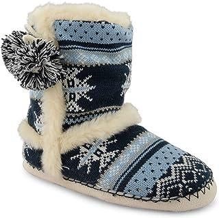 48b3f459321ba Dunlop Chaussons d hiver chauds en tricot pour femme façon bottines d  esquimau