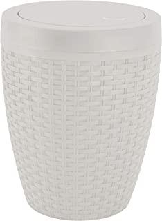 Superio Round Trash Can 6.5 Qt Ivory Bone - Small Trash Bin with Lid Beige Wicker Look, Concealed Bag