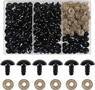 TOAOB 150pcs 14mm Noir Yeux de Sécurité d'animaux en Peluche en Plastique Rond avec 150pcs Rondelles pour Artisanat Bijoux...