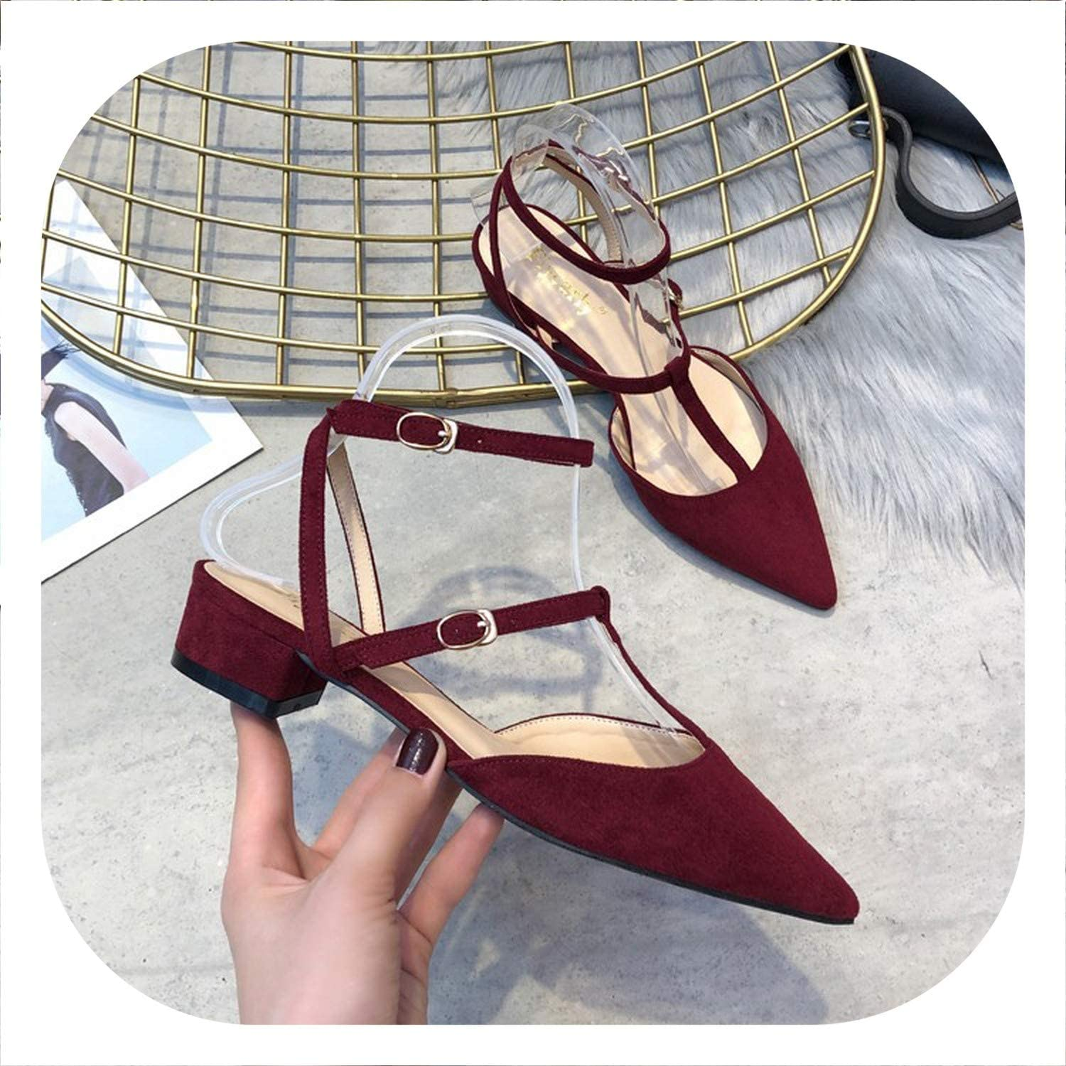 HANBINGPO 2019 Women Sandals Pointed Toe Summer shoes Buckle Elegant Party shoes high Heels