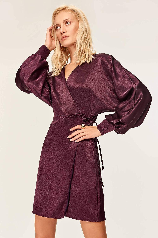 GPZLYQ Neue Art und Weise Elegantes dünnes passendes beilufiges purpurrotes Kimonokleid 19FZ0412