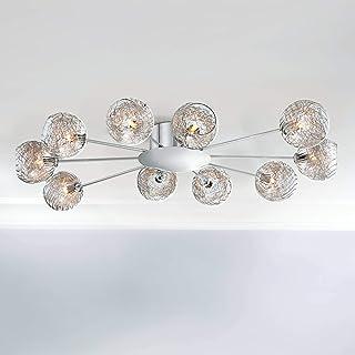 """مفتول سقف مدرن چراغ شستشوی نصب شده Sputnik Chrome 38 """"عیار شیشه ای 10 نور گسترده برای اتاق خواب آشپزخانه اتاق نشیمن راهرو حمام - Possini Euro Design"""