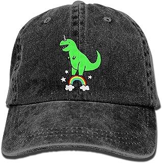 Rainbow Dinasaur Mens Adjustable Hat Classic Cotton Denim Baseball Cap Natural
