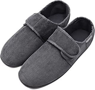 MEJORMEN Men's Diabetic House Shoes Memory Foam Slippers Fully Adjustable Touch Close Strap Cozy Warm Coral Fleece Footwear Wide Fit for Swollen Feet Elderly Edema Arthritis Indoor Outdoor