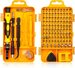 Precision Screwdriver Set, Fomatrade 115 in 1 Professional Screwdriver Set, Multi-function Magnetic Repair Computer Tool Kit Compatible with iPhone/Ipad/Android/Laptop/PC etc (Yellow)
