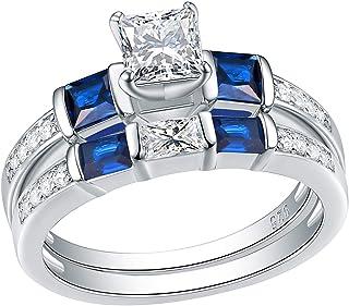 Wuziwen Engagement Wedding Rings Set for Women Created Blue Sapphire Cz Sterling Silver