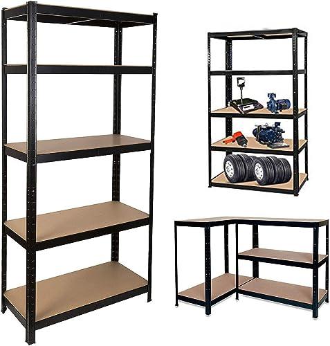 "popular 5 Tier Shelving online sale Unit Storage Rack Metal Shelf Standing Shelf Units online sale Heavy Duty Height Adjustable Garage Shelving 35.4"" x 15.7"" x 71"" 386Lbs Capacity per Shelf Commercial Shelving for Garage Office Home online"