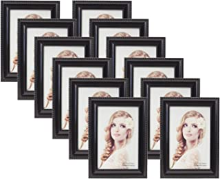 Houseables Picture Frame Set, 12 Pack, Black, 4x6 Inches, Wood, Glass, Multi Photo Kit, Gallery Wall Décor, Table Display, Horizontal or Vertical Hanging Mount, for Desk, Family Mural, Collage Bundle