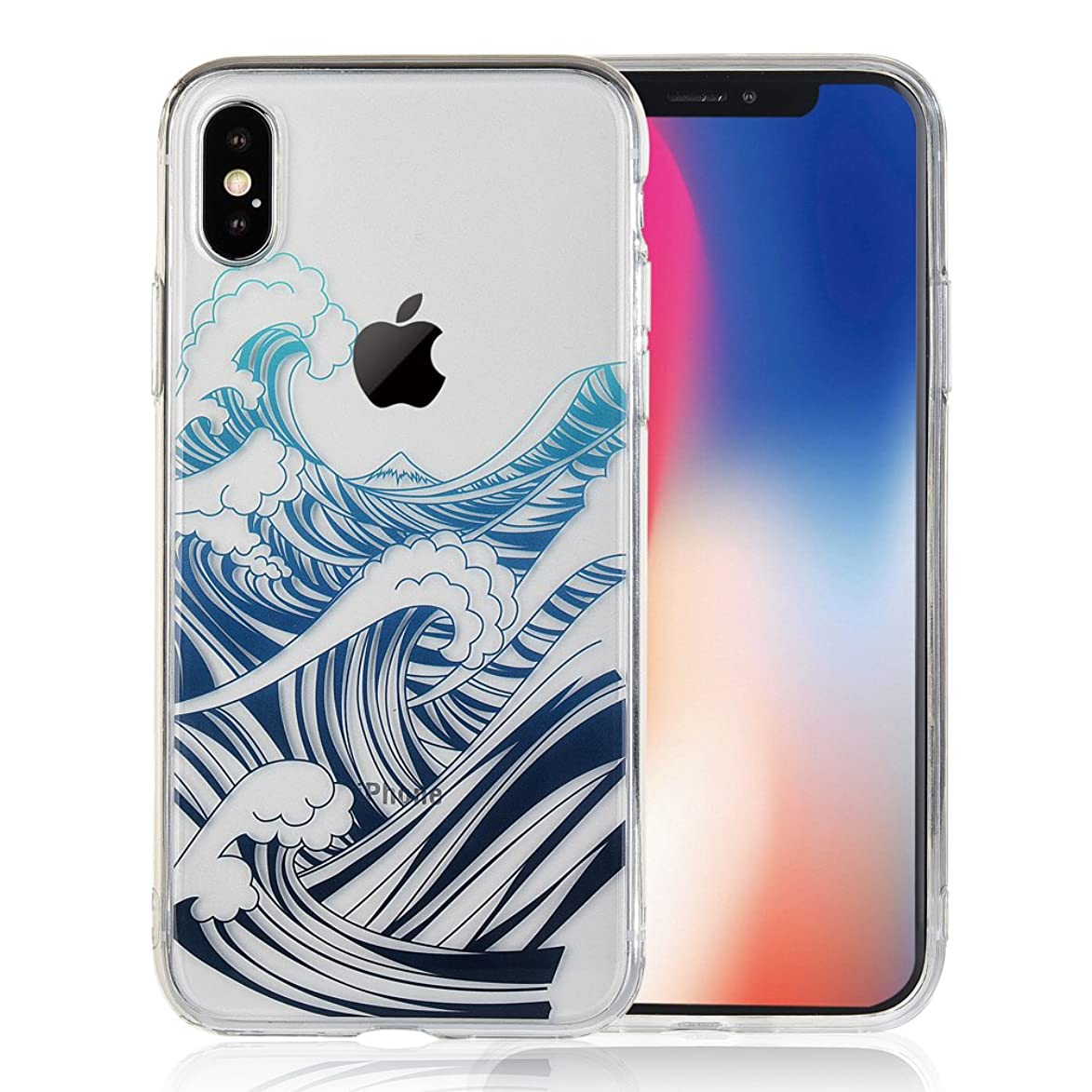 COSANO iPhone X Case Premium Quality Blue sea Wave Nature Beach Pattern [Hard PC Back + Soft TPU Bumper] [Ultra Thin] Crystal Clear with Design for Apple New iPhone 10 5.8