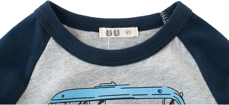 Snyemio Jungen T-Shirt Baumwolle Sommer Tee Shirt Langarm Cartoon Tops 1-7 Jahre