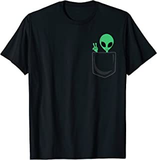 Cute Little Alien In Pocket Peace Sign Universe UFO T-Shirt