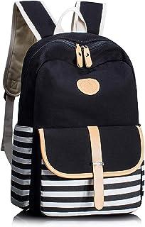 Maxi Thickened Canvas School Backpacks for Women Teen Girls Book Bag Lightweight Canvas Stripe Backpack Cute Teen Bookpacks Set Bookbags Laptop Bag Travel Backpack (Black)