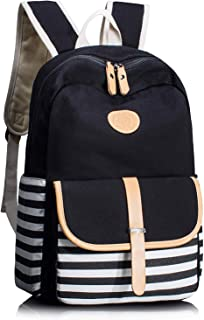 Maxi Thickened Canvas School Backpacks for Women Teen Girls Book Bag Lightweight Canvas Stripe Backpack Cute Teen Bookpacks Set Bookbags Laptop Bag Travel Backpack (Black)