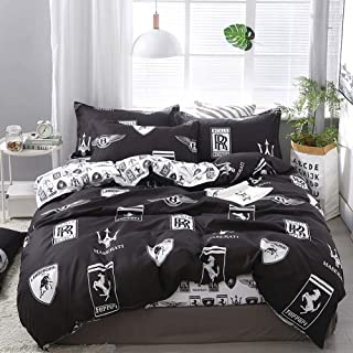 "Anjos Scandinavian Duvet Cover Set - Microfiber Polyester - Wrinkle, Fade, Stain Resistant - Hypoallergenic - 4 Pieces - Full - 78""x90""(200x230cm),Car Logo Brand Black"