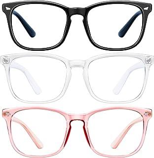 عینک های مسدود کننده نور آبی-3Pack عینک بازی رایانه ای قاب عینک مربع ، عینک های مسدود کننده نور آبی برای مردان ، خستگی چشم ضد چشم (صورتی شفاف سیاه)