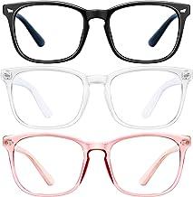 Blue Light Blocking Glasses-3Pack Computer Game Glasses Square Eyeglasses Frame, Blue Light Blocker Glasses for Women Men,...