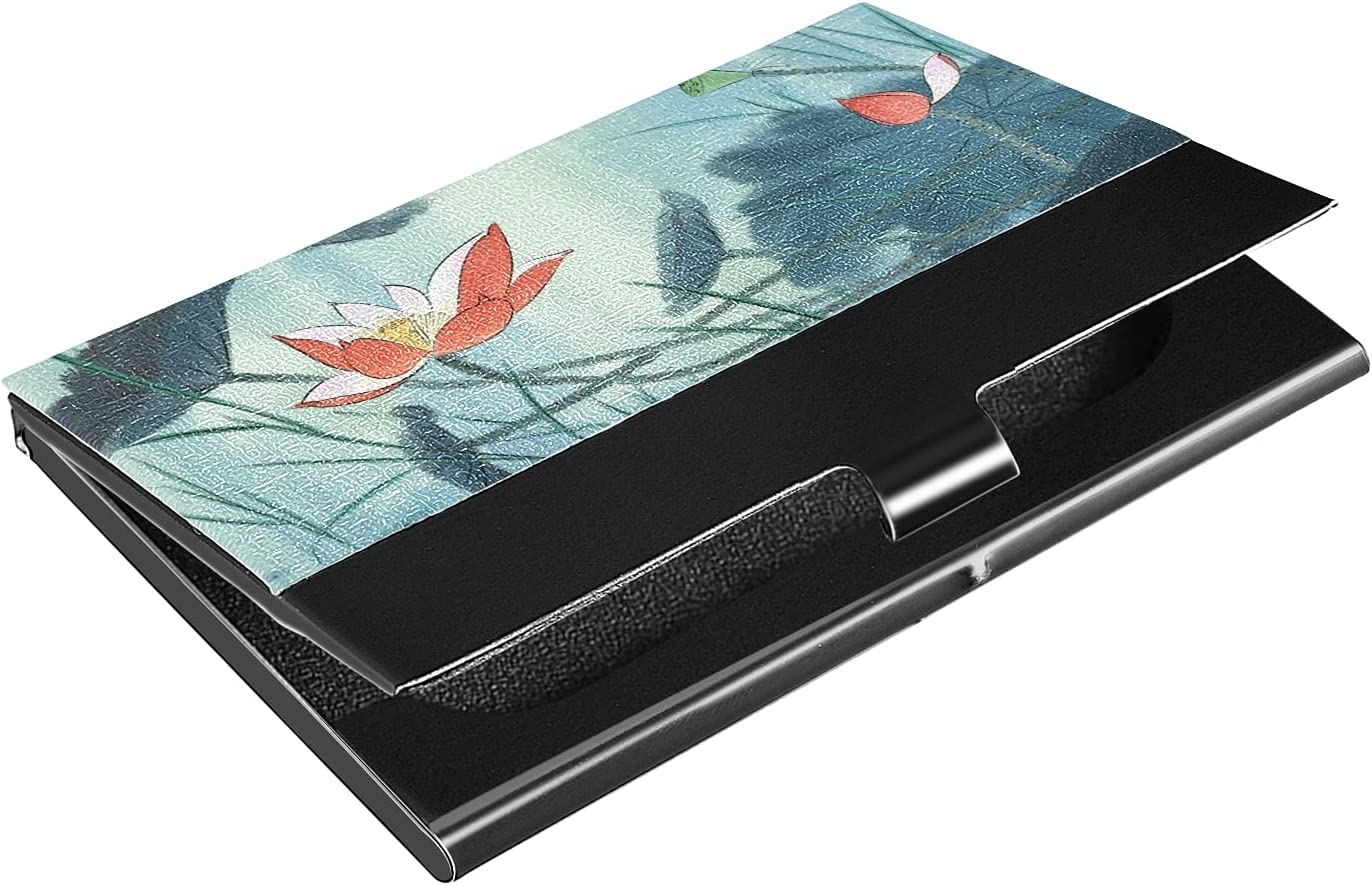 OTVEE Lotus Flowers Business Card Holder Wallet Stainless Steel & Leather Pocket Business Card Case Organizer Slim Name Card ID Card Holders Credit Card Wallet Carrier Purse for Women Men
