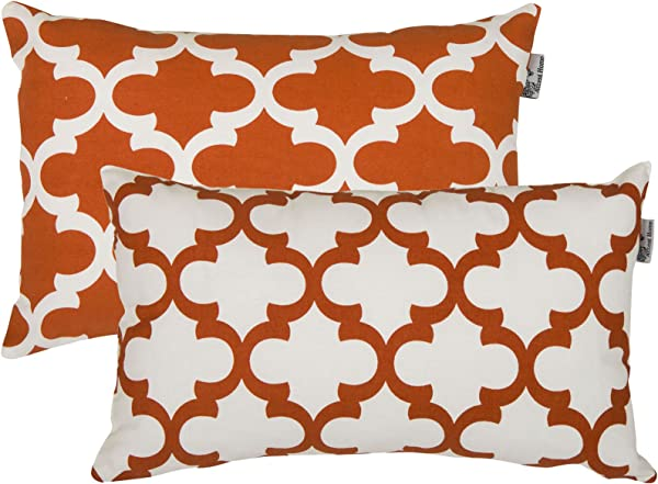 Accent Home Printed Cotton Cushion Cover Throw Pillow Case Slipover Pillowslip For Home Sofa Couch Chair Back Seat 2pc Pack 12 X20 TRELLIS Design In Rust Color