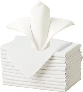VEEYOO Cloth Napkins Set of 12 Pieces Solid Polyester Napkins Soft Fabric Washable and Reusable Dinner Napkin for Banquet Wedding Restaurant (Ivory, 17x17 inch)