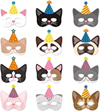 Cat Masks with Party Hats Halloween Kitten Masks for Kitty Cat Birthday Party Kids Costumes Dress-Up Party Supplies(12 Pieces)