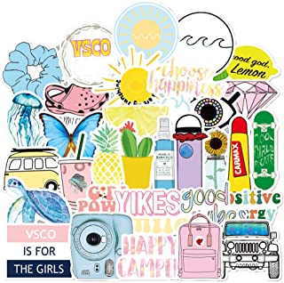 Vsco Stickers for Water Bottle Hydro Flask 50 Packs, Cute Waterproof Aesthetic Vinyl Decal Stickers for Teens Girls Perfect for Waterbottle Laptop Phone Travel