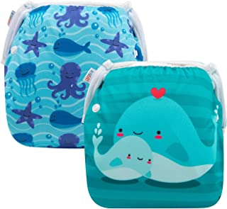 ALVABABY Baby Swim Diapers 2pcs One Size Reuseable Washable Adjustable for Swimming Lesson Baby Shower Gifts (DYK51-52)
