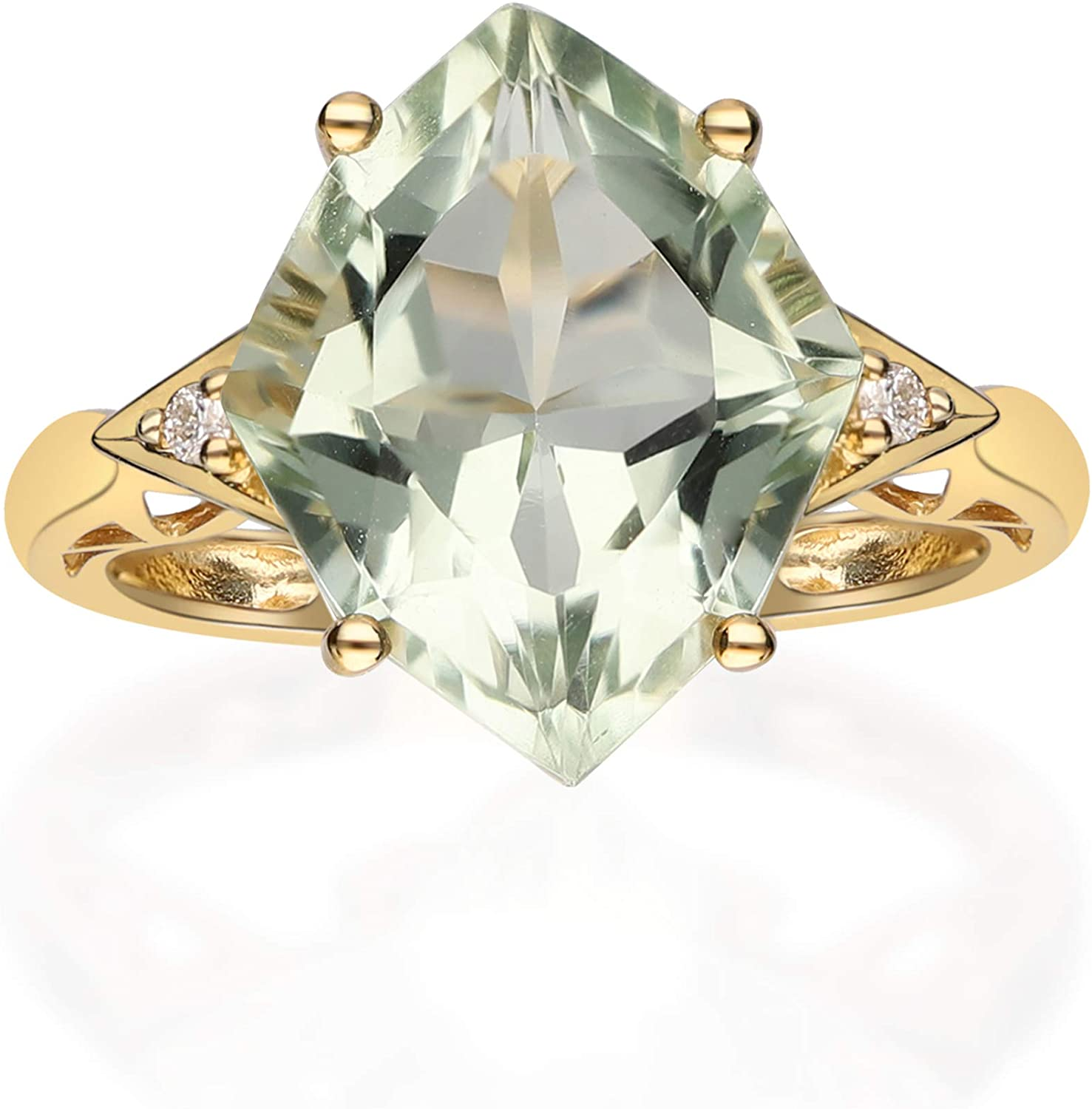 Gin & Grace 10K Yellow Gold Real Diamond Ring (I1) with Genuine Green Amethyst Daily Work Wear Jewelry for Women Gifts for Her