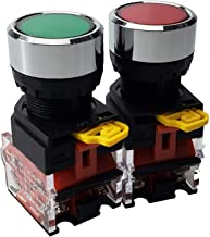 API-ELE [ 3 Year Warranty] 2 Pcs 22mm Plastic Momentary Push Button Switch 10A 440V 1NO1NC DPST RED Green