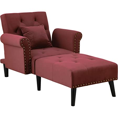 Amazon Com Homcom 2 In 1 Chaise Lounge Chair With Thick Padding Adjustable Backrest Velvet Touch Fabric And Wooden Legs Wine Red Furniture Decor
