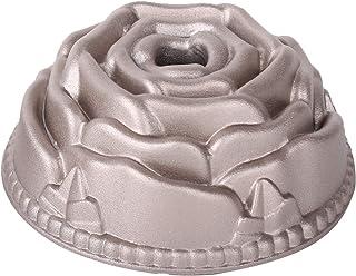 Erreke – Molde para Tartas, Antiadherente, Hecho con Aluminio Fundido Muy Resistente, Color Oro Rosa, 24x24x10cm, Forma de Rosa.