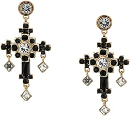 Stone Ornate Cross Drop Earrings
