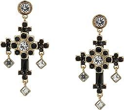 Stone Ornate Cross Drop Earrings
