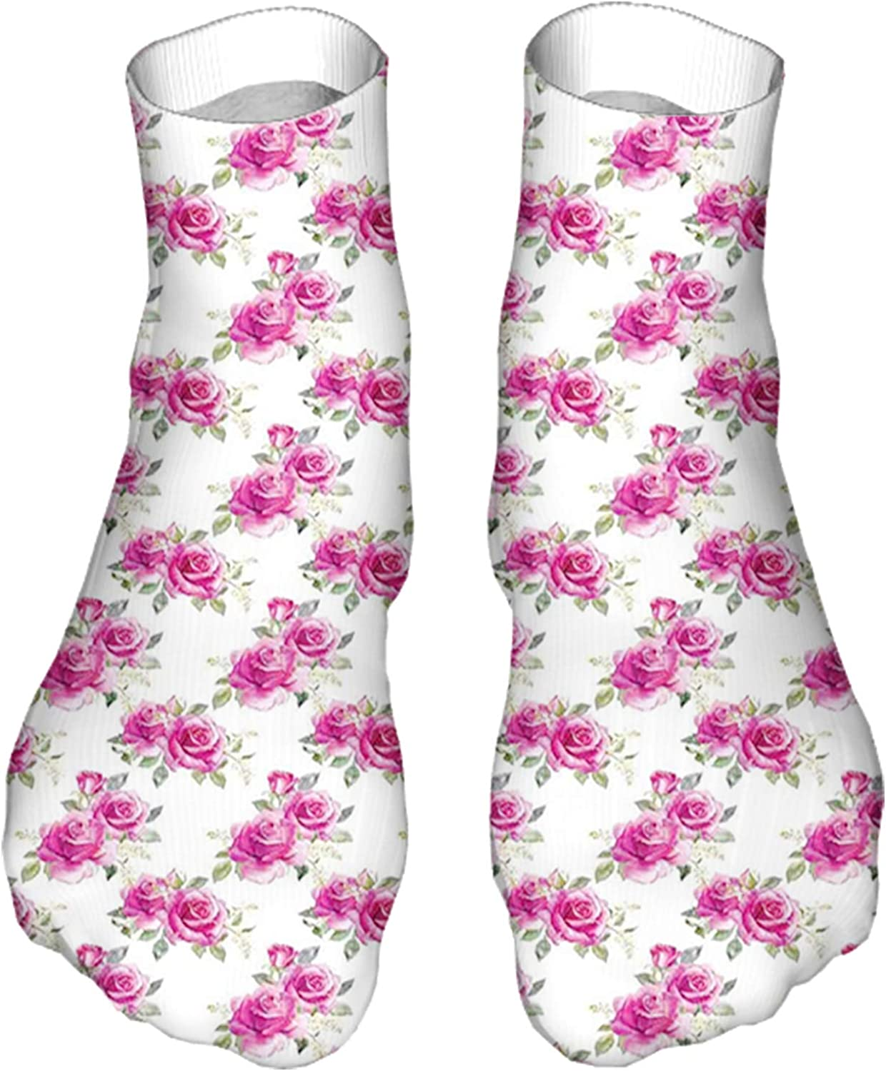Men's and Women's Funny Casual Socks Nosegay of Roses and Wildflowers Design Watercolor Paint