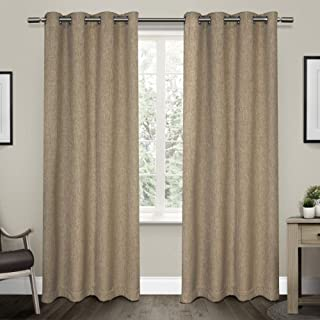 Exclusive Home Vesta Heavyweight Textured Linen Blackout Window Curtain Panel Pair with Grommet Top 52x96 Natural 2 Piece