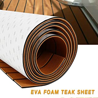 TBVECHI Teak Sheet 94''x47'' EVA Foam Teak Sheet Marine Flooring Yacht Boat Decking Self-Adhesive Pad