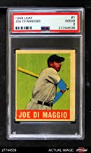 1948 Leaf # 1 Joe DiMaggio New York Yankees (Baseball Card) PSA 2 - GOOD Yankees
