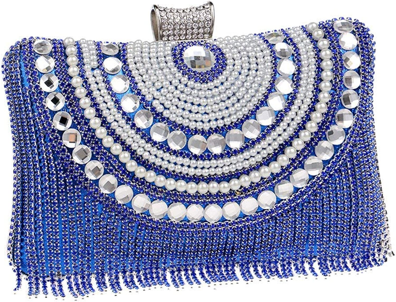 Ladies Handbag Women's Crystal Clutches Bridal Evening Bags Diamond Evening Bag with Shoulder Chain Included (color   B, Size   6x12x20cm(2x5x8inch))