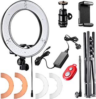 Neewer 12-inch Inner/14-inch Outer LED Ring Light and Light Stand 36W 5500K Lighting Kit with Soft Tube,Color Filter,Hot Shoe Adapter,Bluetooth Receiver for Camera Smartphone YouTube TikTok Video Shooting