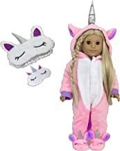 My Genius Dolls Unicorn Onesie Plush Pajama with Matching Sleepover Masks - Clothes for 18 inch Dolls Like Our Generation, My Life, American Girl Doll. Accessories for Slumber Party Favor