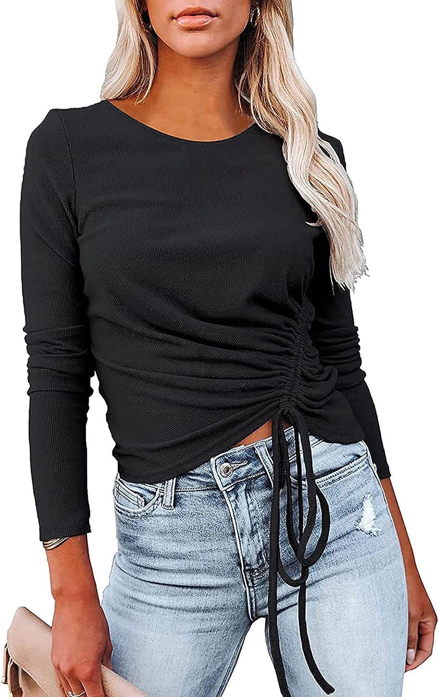 VEKDONE Women Casual Tunic Tops Long Sleeve Crewneck Drawstring Ribbed Knit Sweatshirt Pullover Solid Slim Fit Shirts