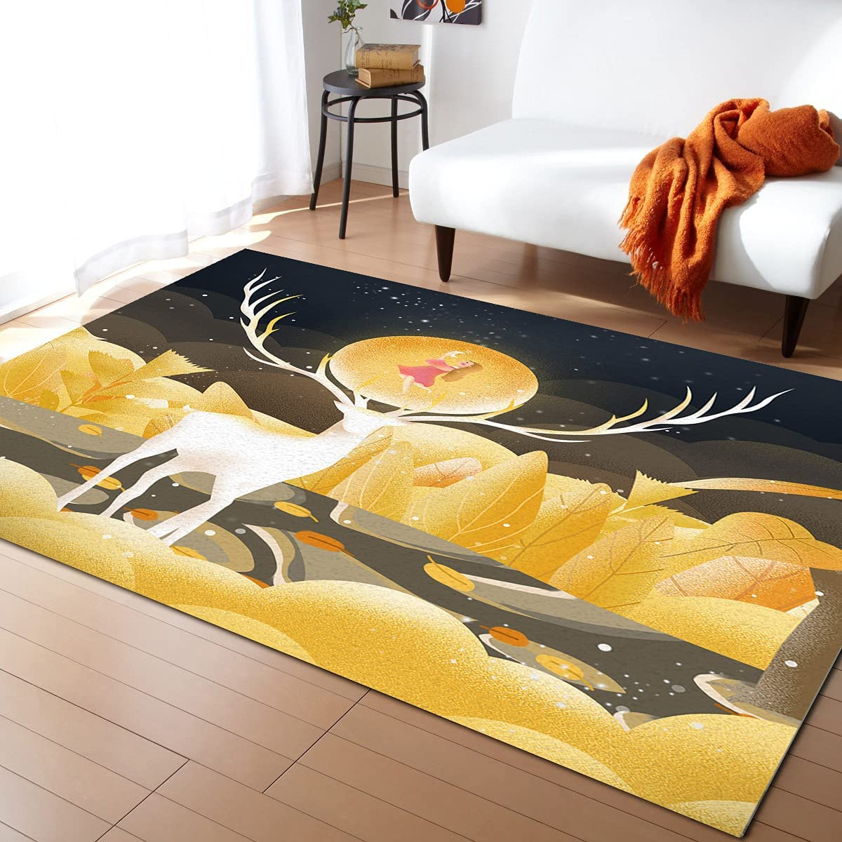 Olivefox Spasm Bombing free shipping price 5x7 Feet Area Rug Floor Mat Deer Mo The and Girl Under