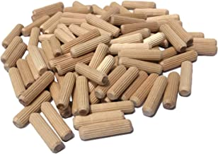 """100 Pack 3/8"""" x 1 1/2"""" Wooden Dowel Pins Wood Kiln Dried Fluted and Beveled, Made of Hardwood in U.S.A."""
