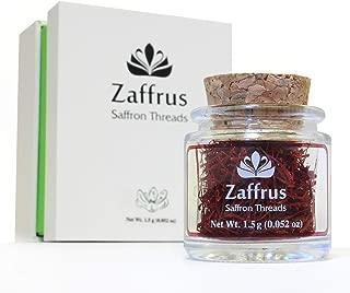 Zaffrus - Certified Organic Super-Premium All Red Saffron Threads (1.5 gram / .052 oz)