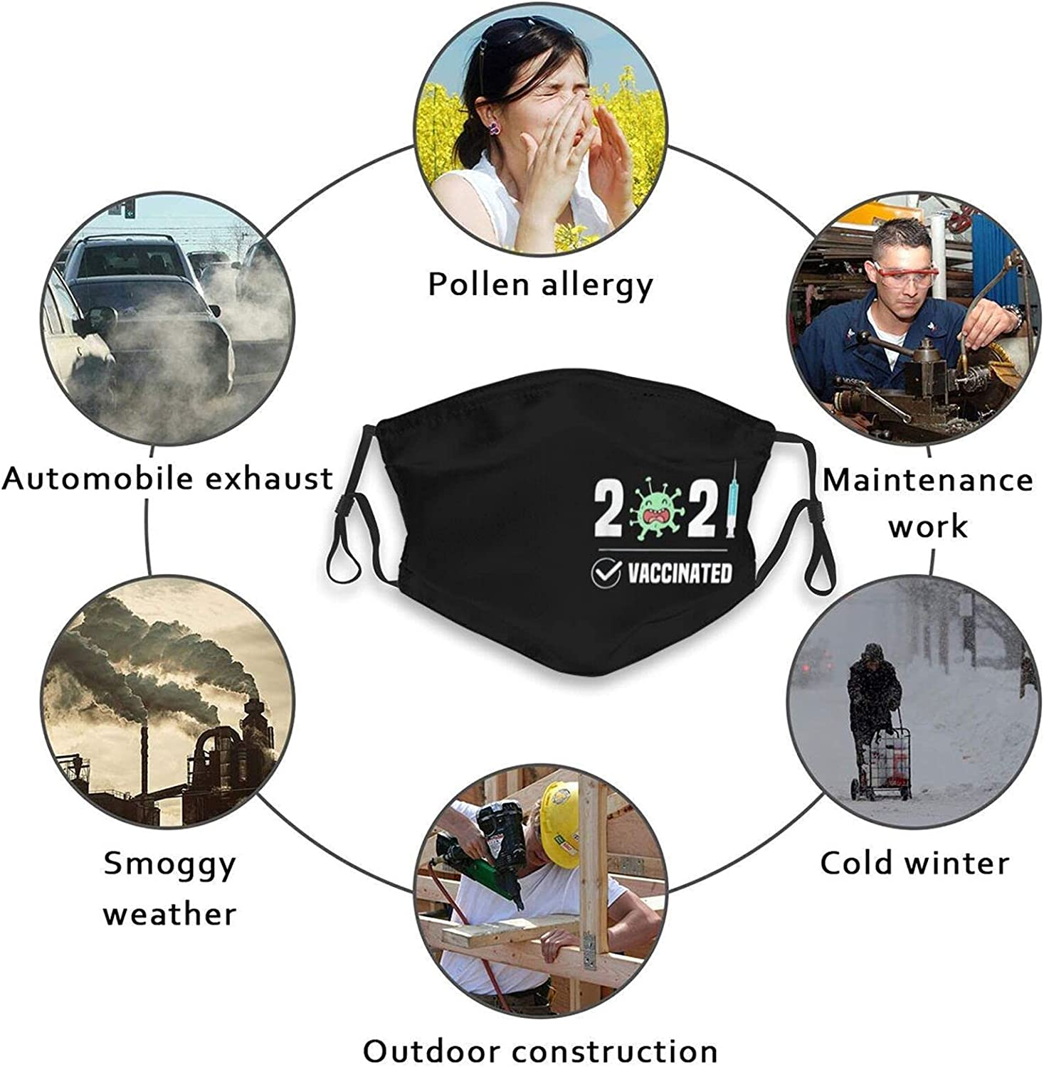 Vaccinated Face Mask, I'M PROTECTED Fashion Scarf Washable Reusable For Women Men Teen