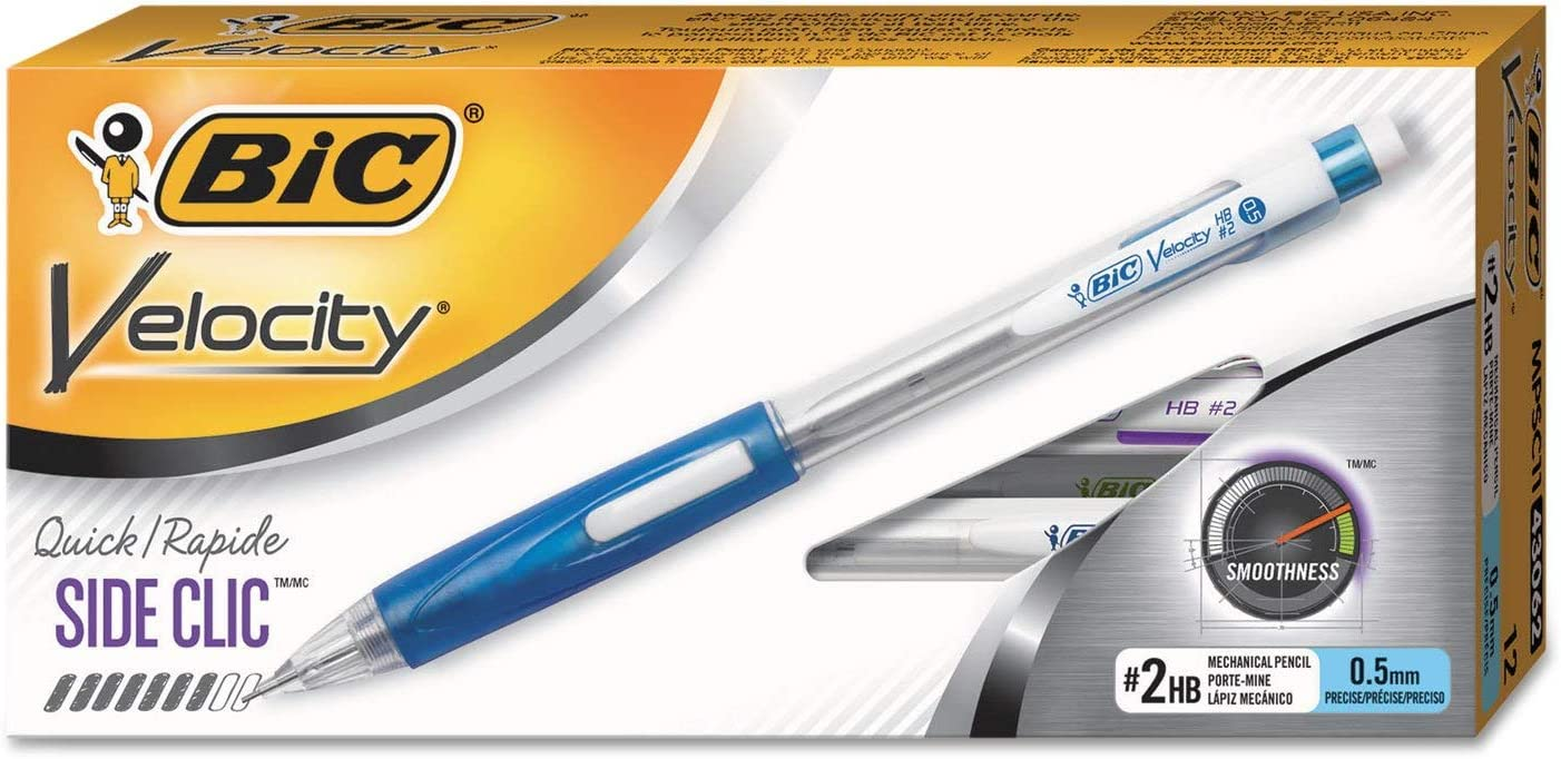 0.5 mm BiC Velocity Side Clic Mechanical Pencil /& Refills #2HB 2 Ct 1 Package