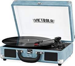 Victrola Vintage 3-Speed Bluetooth Suitcase Turntable with Speakers, Blue Leatherette